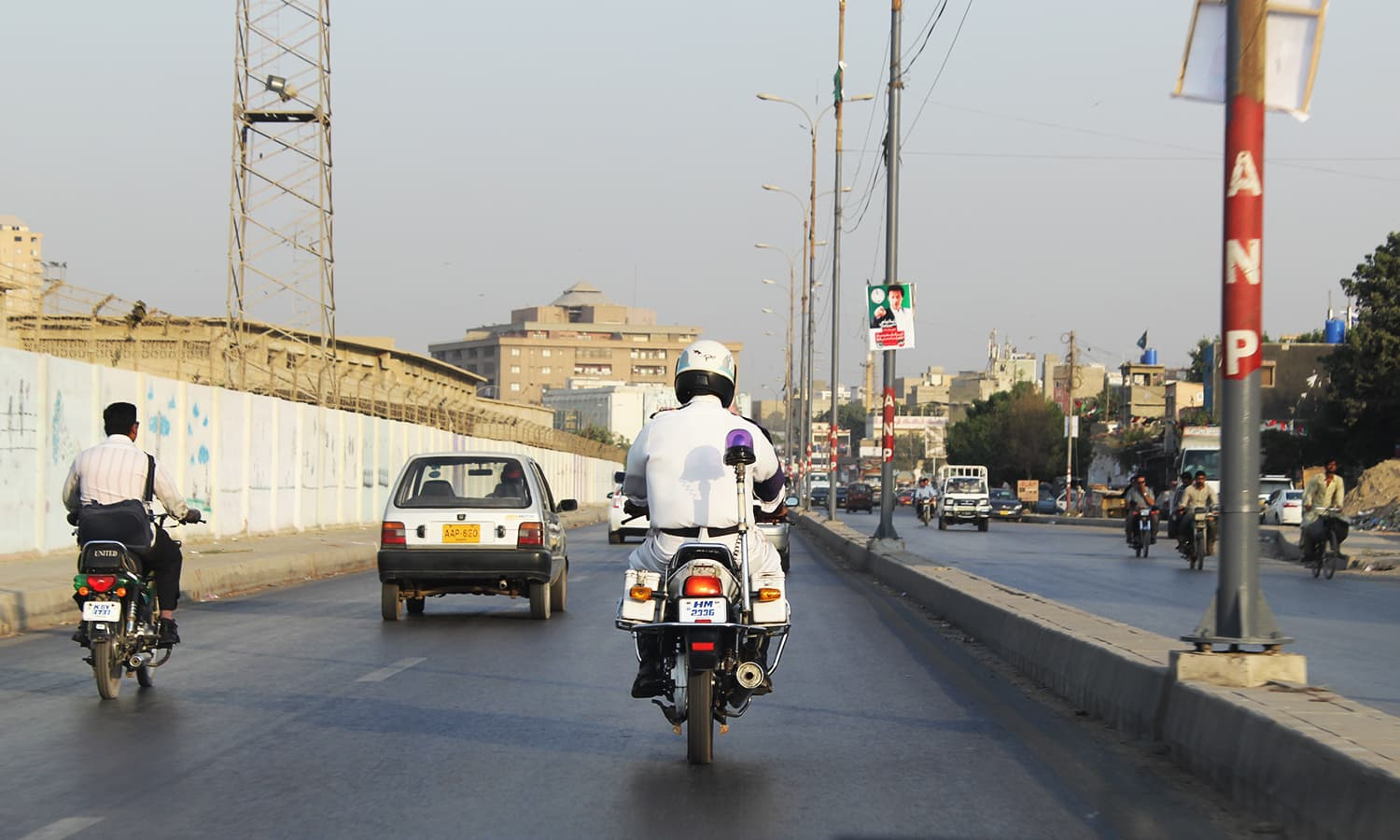 Traffic policemen patrolling on bikes receive higher pay than those on foot. ─ Photo by author