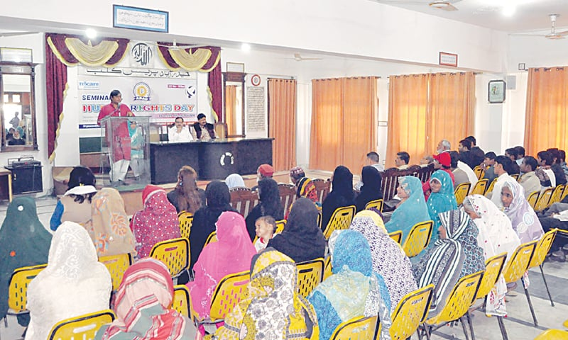 A SEMINAR on human rights under way at the Hyderabad Press Club on Thursday.—Dawn