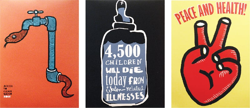 Three of the posters on display at T2F on Thursday.—White Star