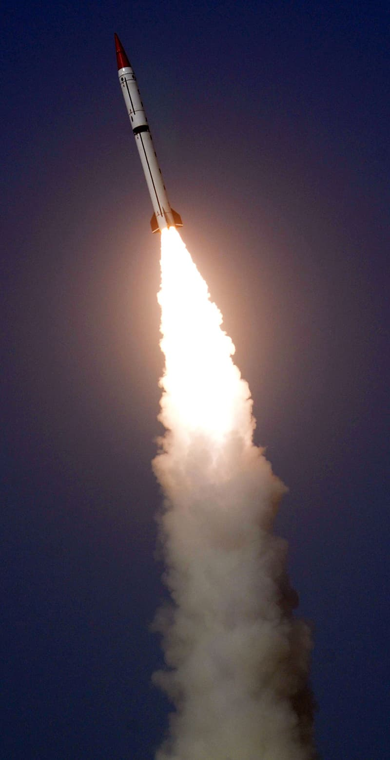 This handout photograph released by Pakistan's Inter Services Public Relations on Friday shows a Shaheen III surface-to-surface ballistic missile launching from an undisclosed location in Pakistan. –AFP