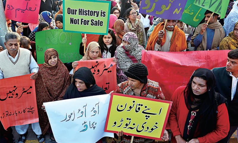 Civil society and the affected persons protest against the Orange Line train route. — White Star