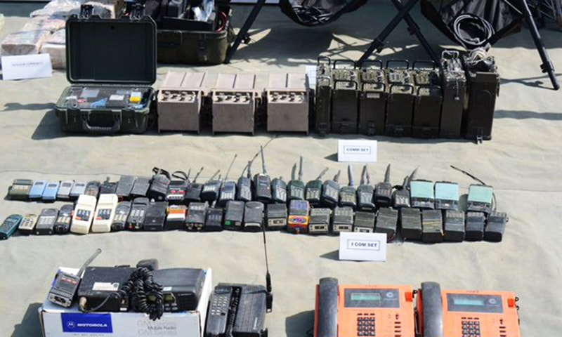 A view of some of the communications equipment seized during Operation Zarb-i-Azb -- Photo courtesy ISPR