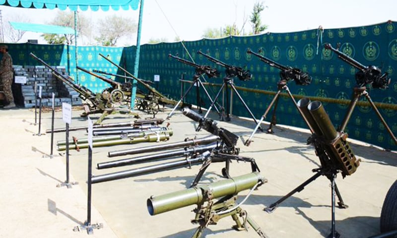A view of some of the weapons and ammunition seized from terrorists during Operation Zarb-i-Azb. - Photo courtesy ISPR