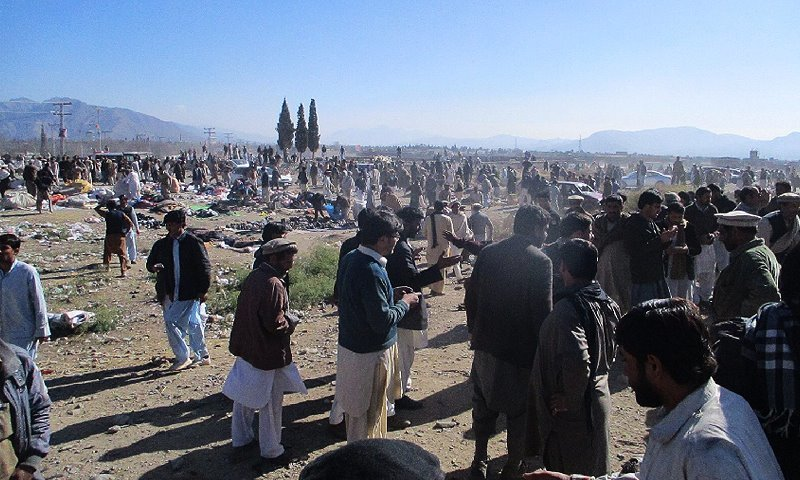 A view of the blast site in Kurram agency's Parachinar area. — DawnNews screengrab