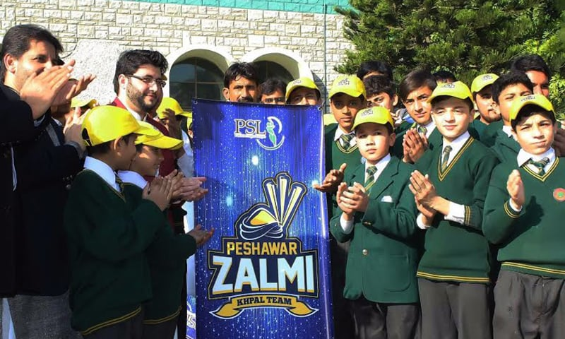 Team owner Javed Afridi unveils Peshawar Zalmi's logo at APS.