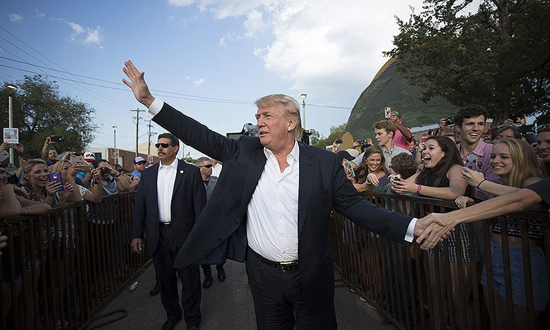 Donald Trump at a campaign rally in Oklahoma City. —AP