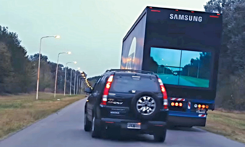 Advertising with a cause: Samsung fixed cameras at the front of the trucks and big video screens at the back to help avoid accidents caused due to overtaking.