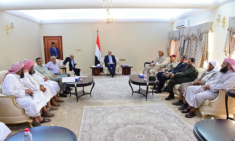In this photo provided by the Yemeni Presidency, President Hadi, center, meets with officials and local leaders in the southern port city of Aden, Yemen. ─ AP