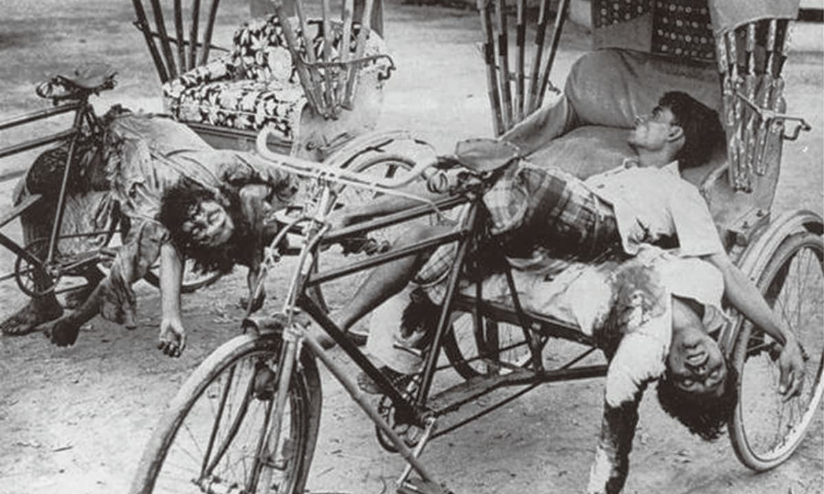 'The government of Bangladesh insists that the death toll of the warwas close to three million and called it genocide, but revisionist historians in Pakistan bring the number to under one million': Rickshaw passengers and drivers massacred in Dhaka in 1971  | Courtesy official Mujibnagar website