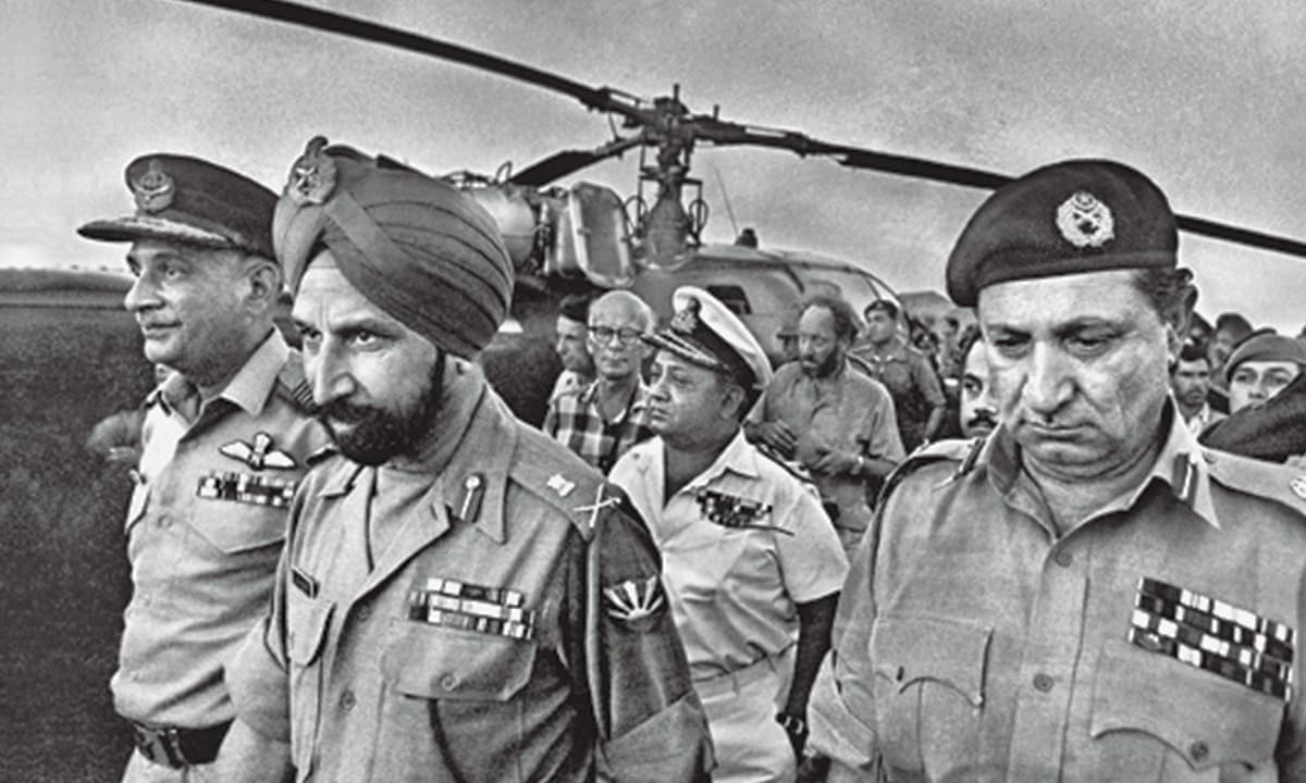 'Bangladeshis were shocked during Modi's recent visit to Dhaka when the Bangladeshi government granted India approval for a transit route through the country': Indian General Jagjit Singh Arora and General A A K Niazi aka 'Tiger', are pictured here, a few moments before the historic surrender in 1971 | Courtesy official Mujibnagar website