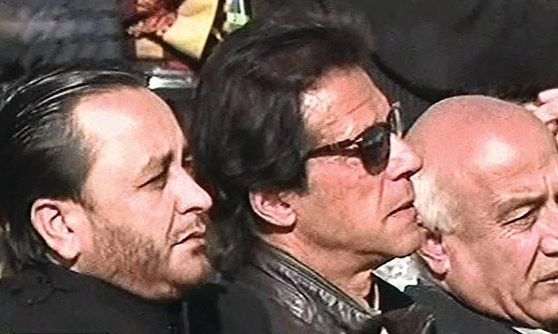 GB CM Hafeezur Rehman, PTI Chief Imran Khan and Balochistan CM Abdul Malik Baloch attend the ceremony at APS. — DawnNews screengrab