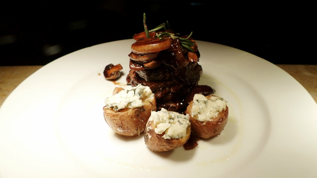 Fillet Steak with Tipsy Mushroom and Roasted Blue cheese Potatoes