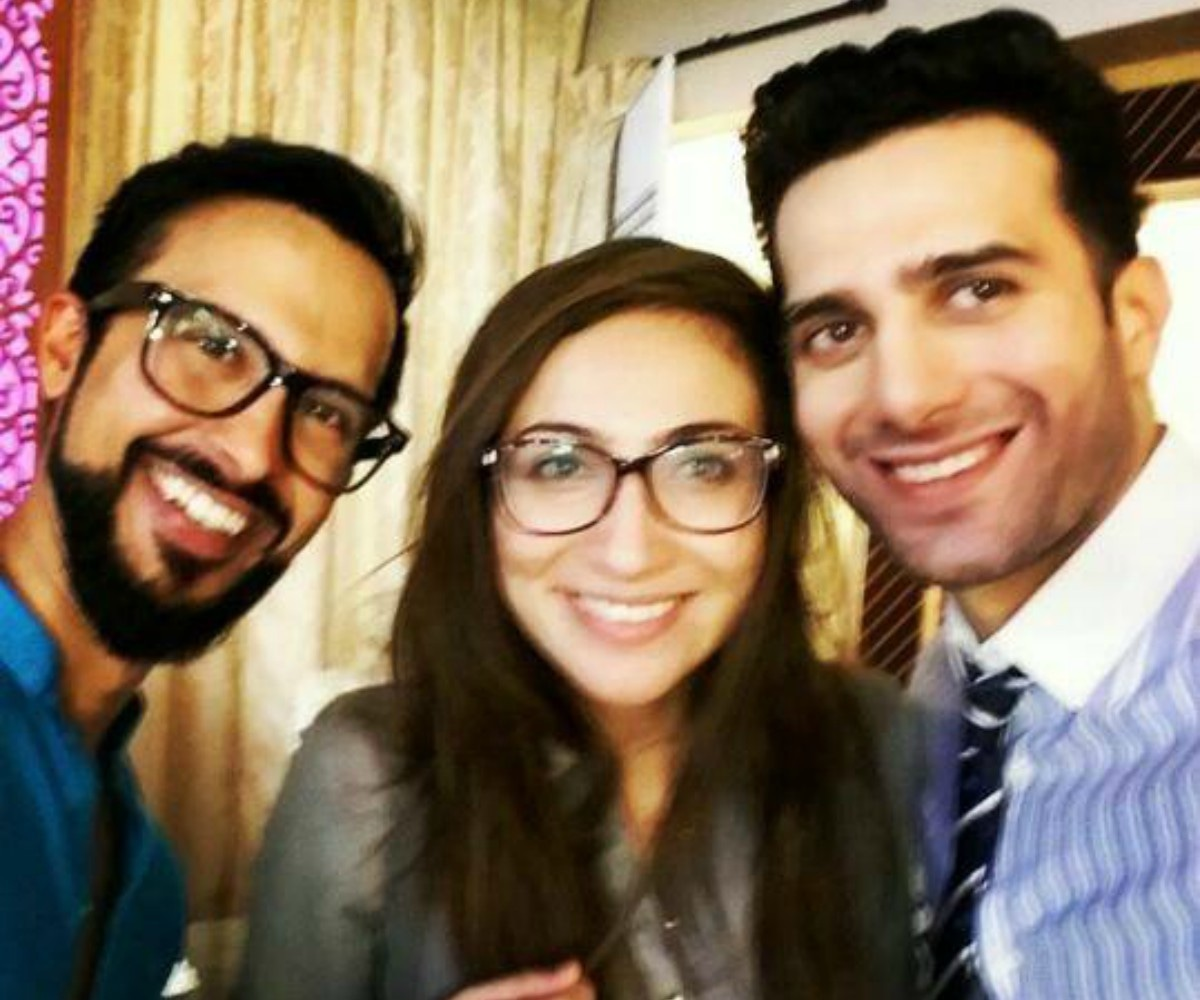 Ali Kazmi, Anoushey Ashraf and Emmad Irfani take a selfie behind the scenes
