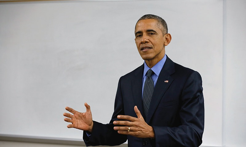US President Barack Obama delivers remarks on the recent shootings in San Bernardino, after meeting with victims' families at Indian Springs High School in San Bernardino, California December 18, 2015. —Reuters