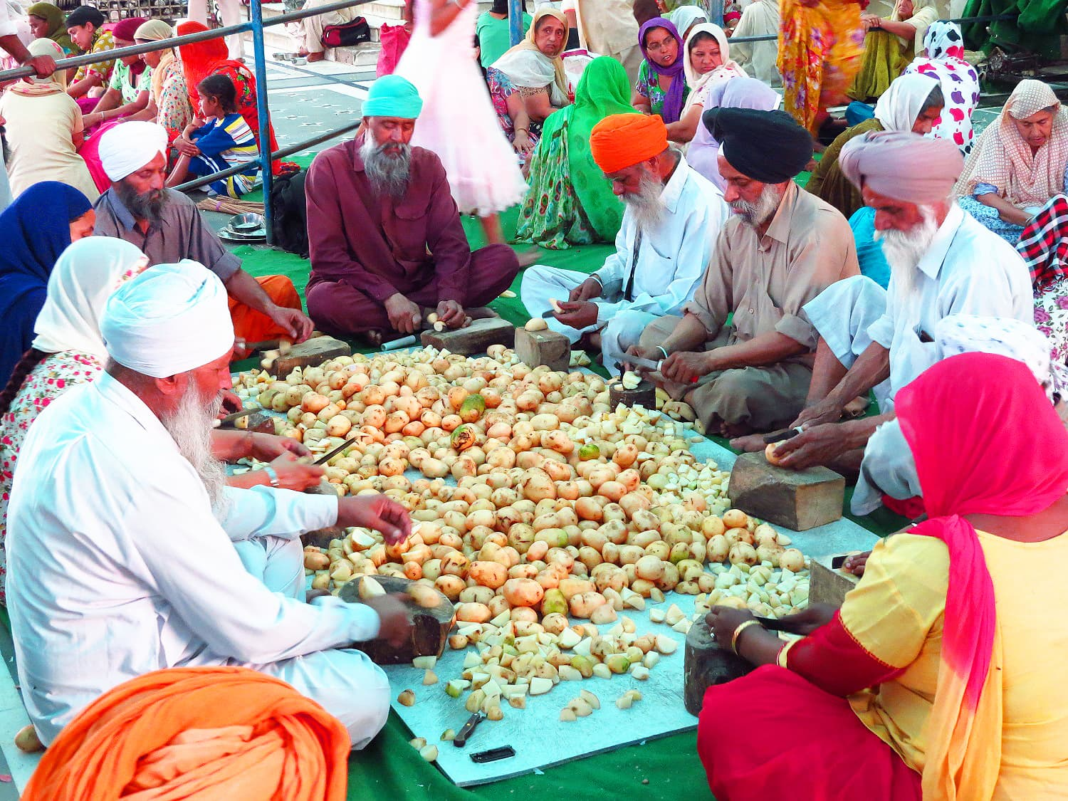 Sikhs preparing for food at the Golden Temple, Amritsar.