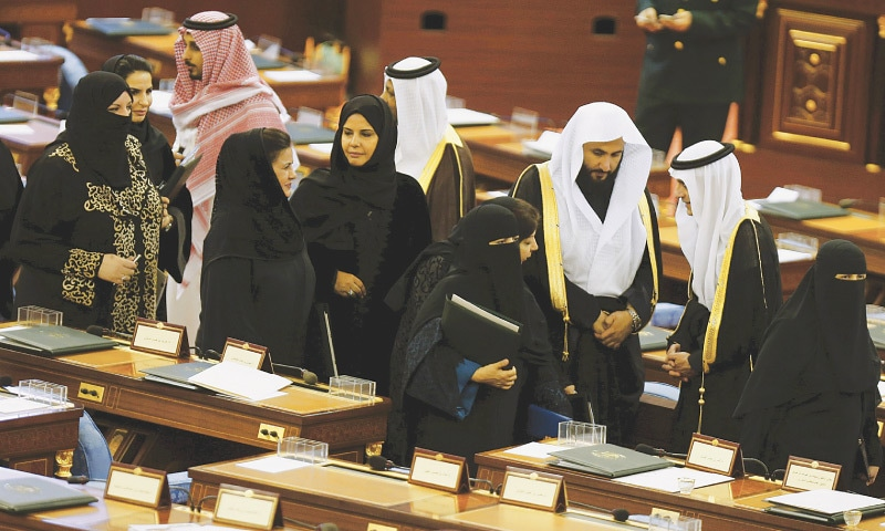 MEMBERS of the Saudi Shura Council attend a session presided over by King Salman in Riyadh on Wednesday.—Reuters