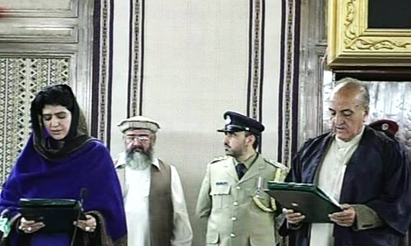 Durrani took oath as the new speaker after she was elected unopposed. —Photo courtesy: PTV