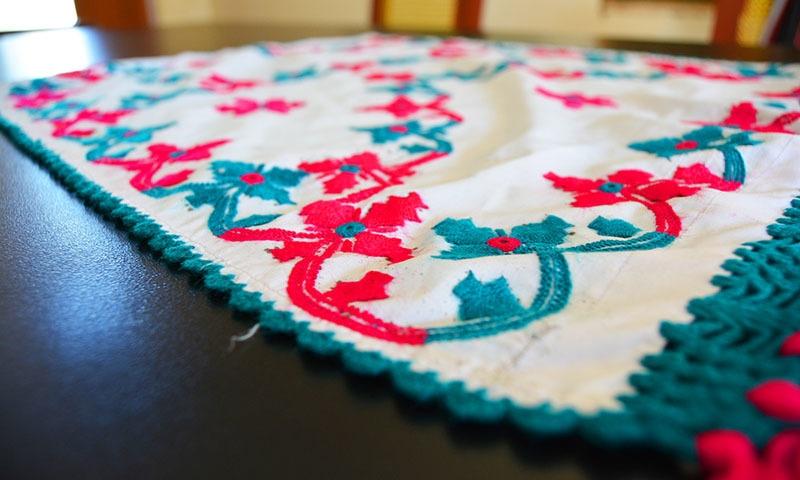 A handmade table mat.