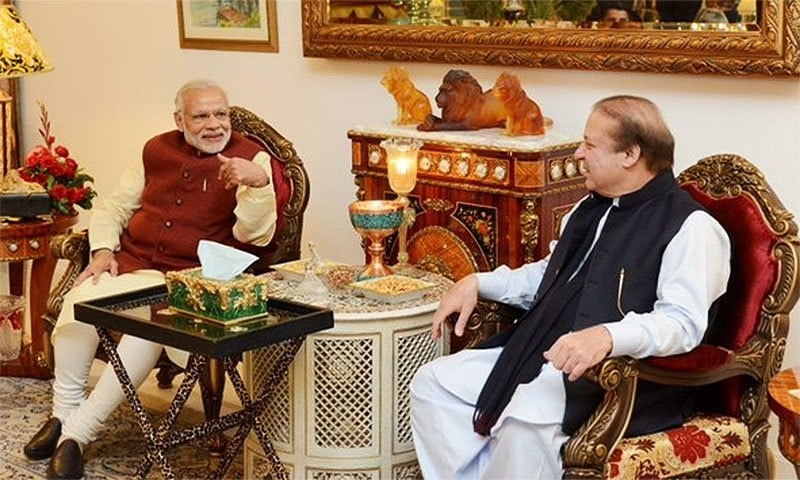 Modi and Nawaz Sharif during the meeting at the latter's resident in Raiwind.─ Photo: PM House/File