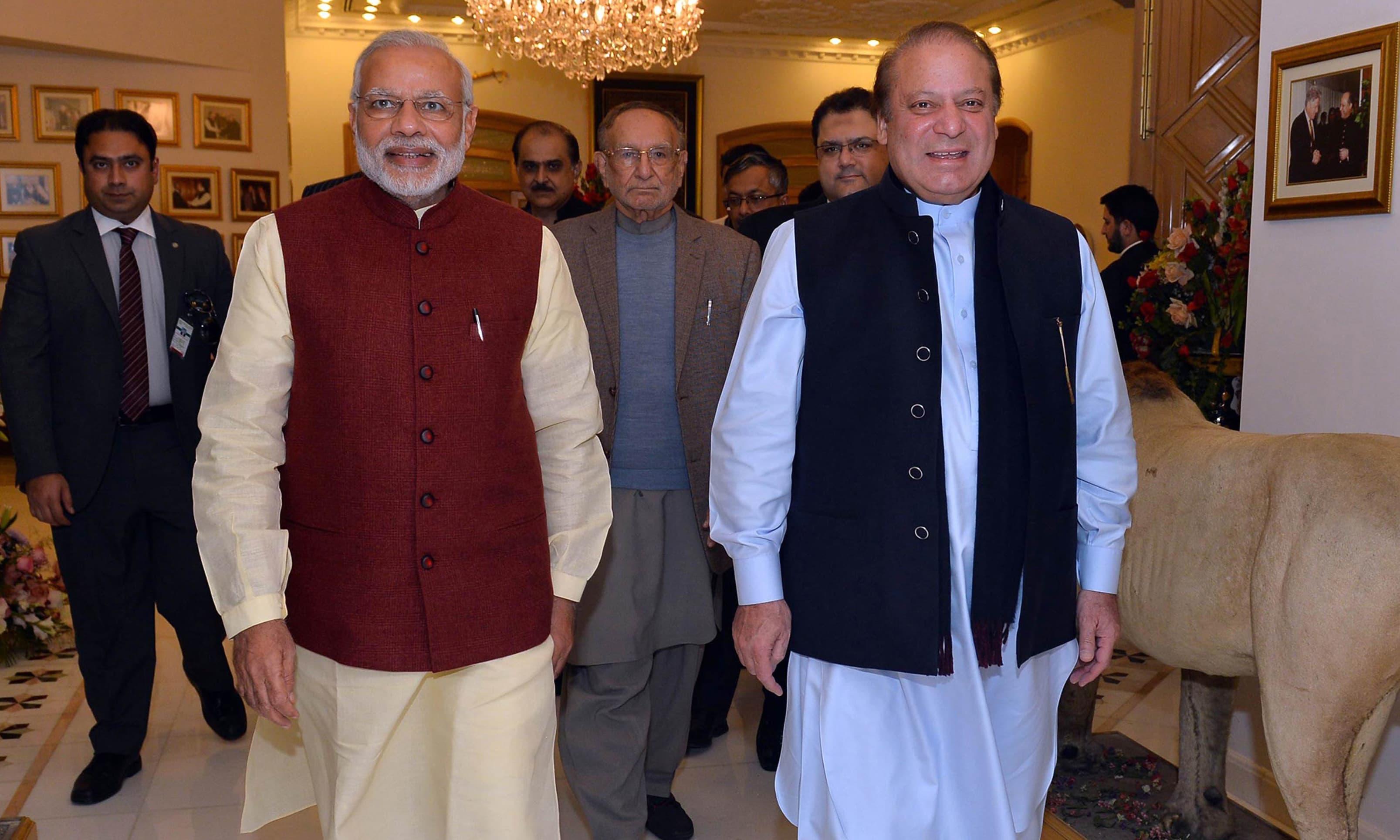 Narendra Modi made a surprise visit to Pakistan to meet his counterpart Nawaz Sharif. —AFP/File