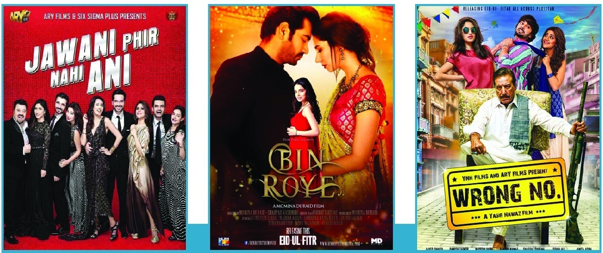 Top grossers: Jawani Phir Nahin Aani broke all previous records with earnings in excess of Rs 300 million at the box office while Bin Roye and Wrong Number collected Rs 150 million and Rs 130 million respectively.