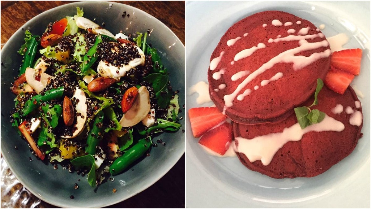 From L-R: Black Quinoa salad and Red Velvet pancakes —Photo courtesy: Mews Facebook page