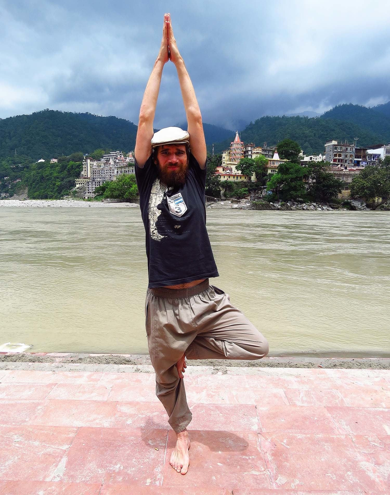 Practicing yoga in Rishikesh.