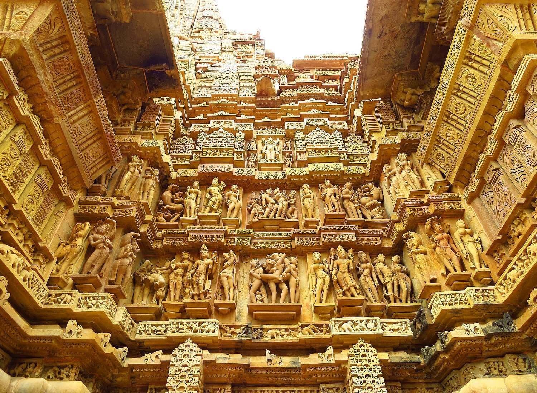 Temple and erotic carvings, Khajuraho.
