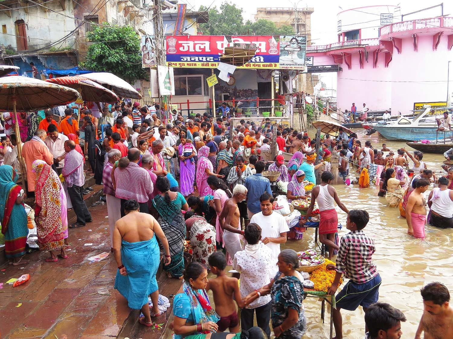People bathe in the holy Ganges river in Varanasi.