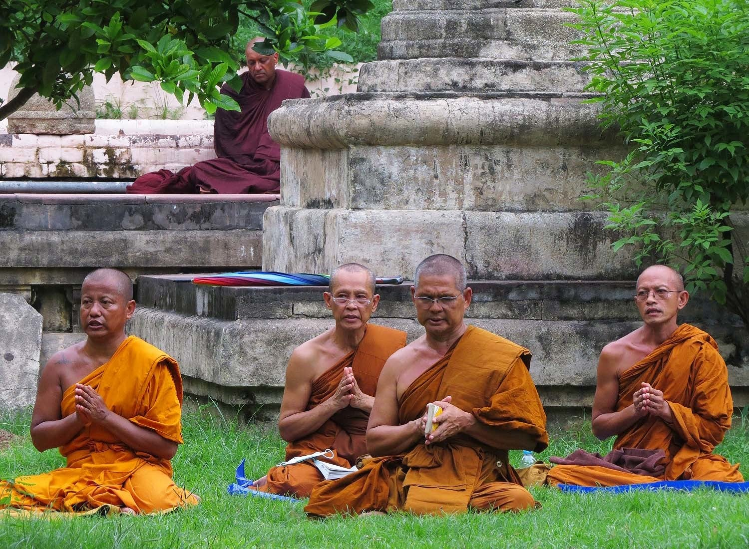 Monks near Mahabodhi Temple in Bodhgaya.