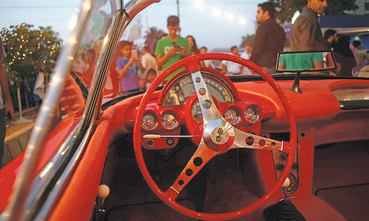 The interior of a vintage sports car