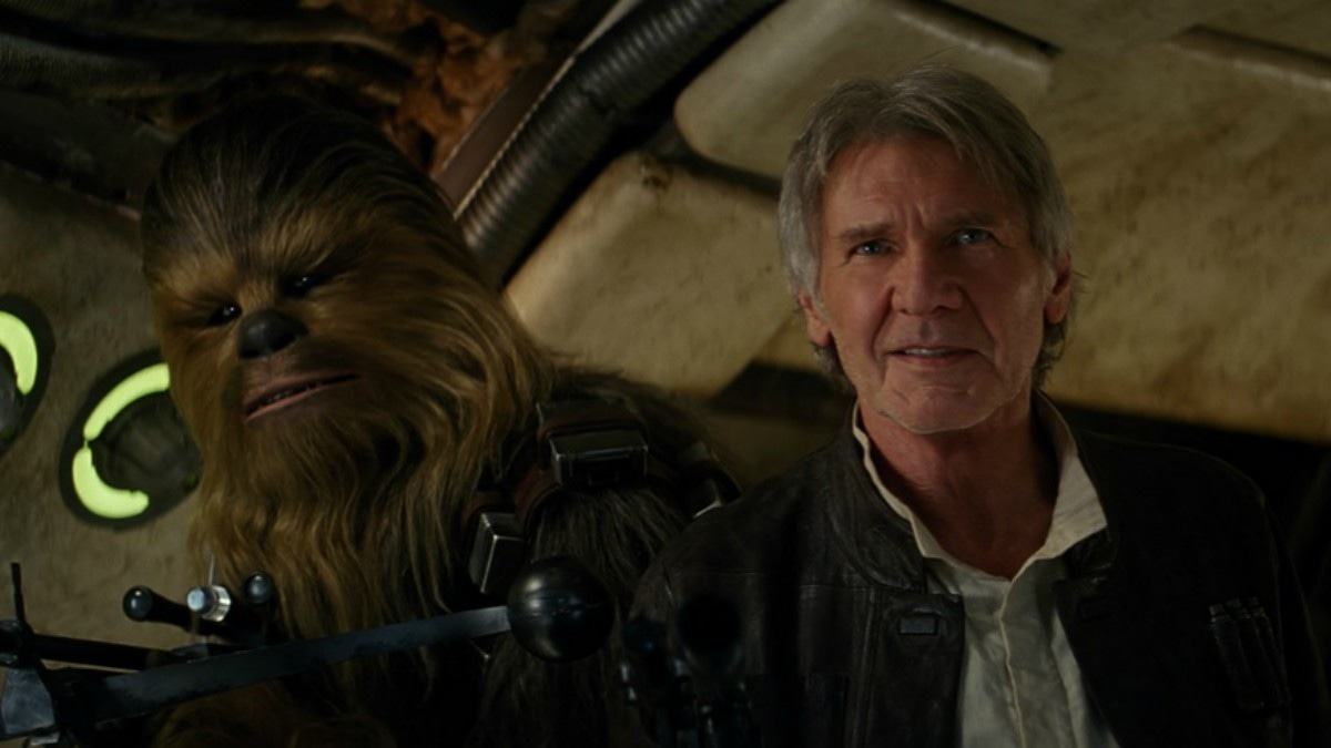 Chewbacca and Han Solo in a still from the movie