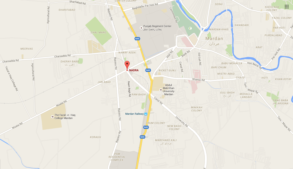 Map showing the location of the Nadra office. ─GoogleMaps