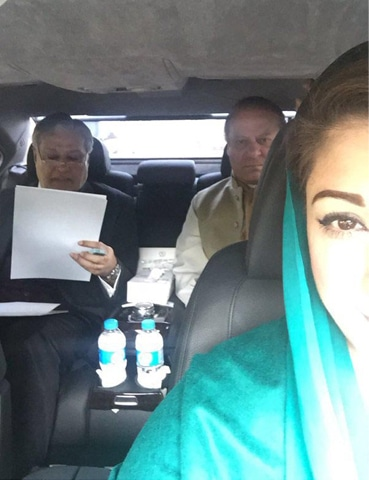 ISLAMABAD: A selfie taken by Maryam Nawaz in a vehicle on Thursday shows Prime Minister Nawaz Sharif and Finance Minister Ishaq Dar in consultation over new prices of petroleum products.—INP