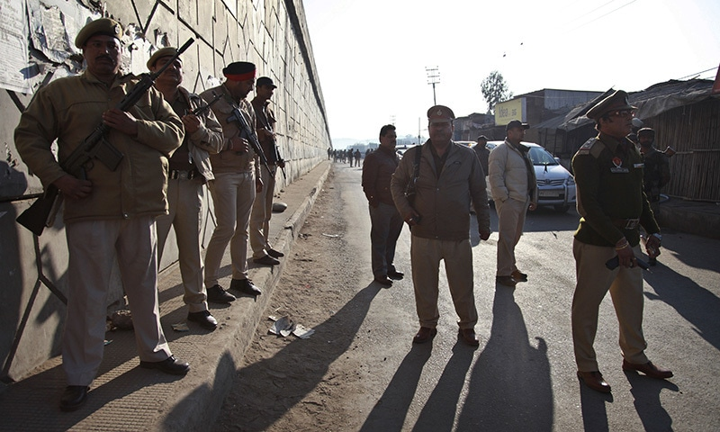 Indian security forces stand outside an Indian air force base in Pathankot, north of New Delhi, India, Saturday, Jan 2, 2016.—AP