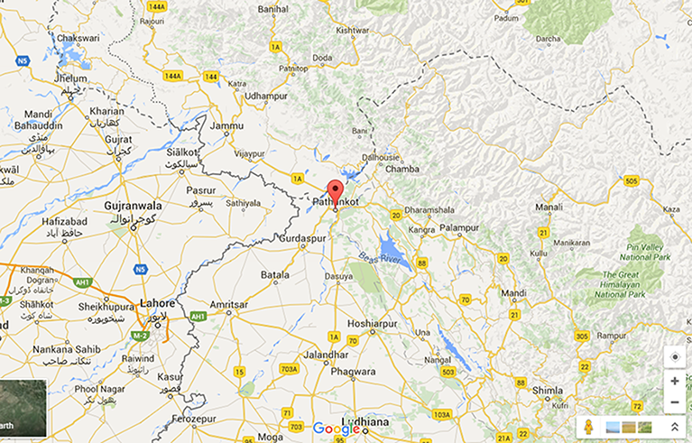 Pathankot in India's Punjab province is close to the border with Pakistan.—Google maps