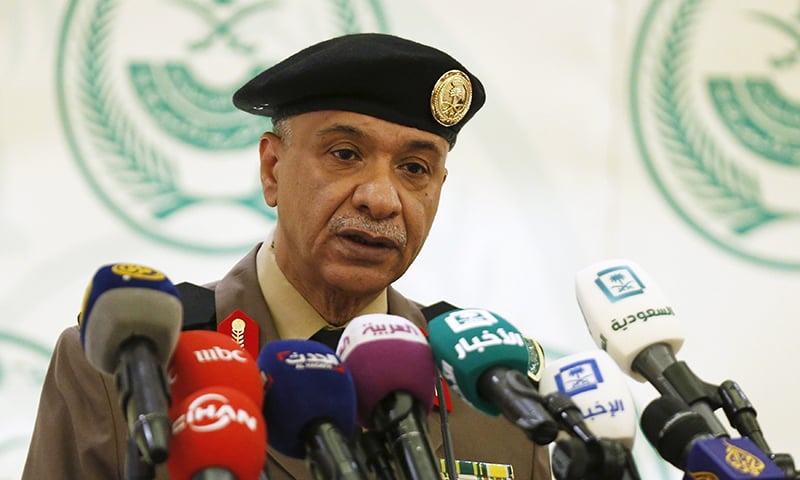 Major General Mansour Al-Turki, a security spokesman from the Saudi Arabian Ministry of Interior, holds a news conference on the executions of 47 people. -Reuters