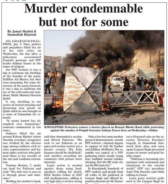 A Dawn newspaper story the day after Taseer's violent death