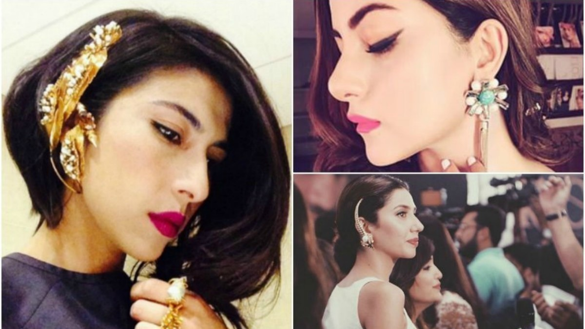 Meesha Shafi (left), Sohai Ali Abro (top right) and Mahira Khan have all been spotted wearing Outhouse jewellery
