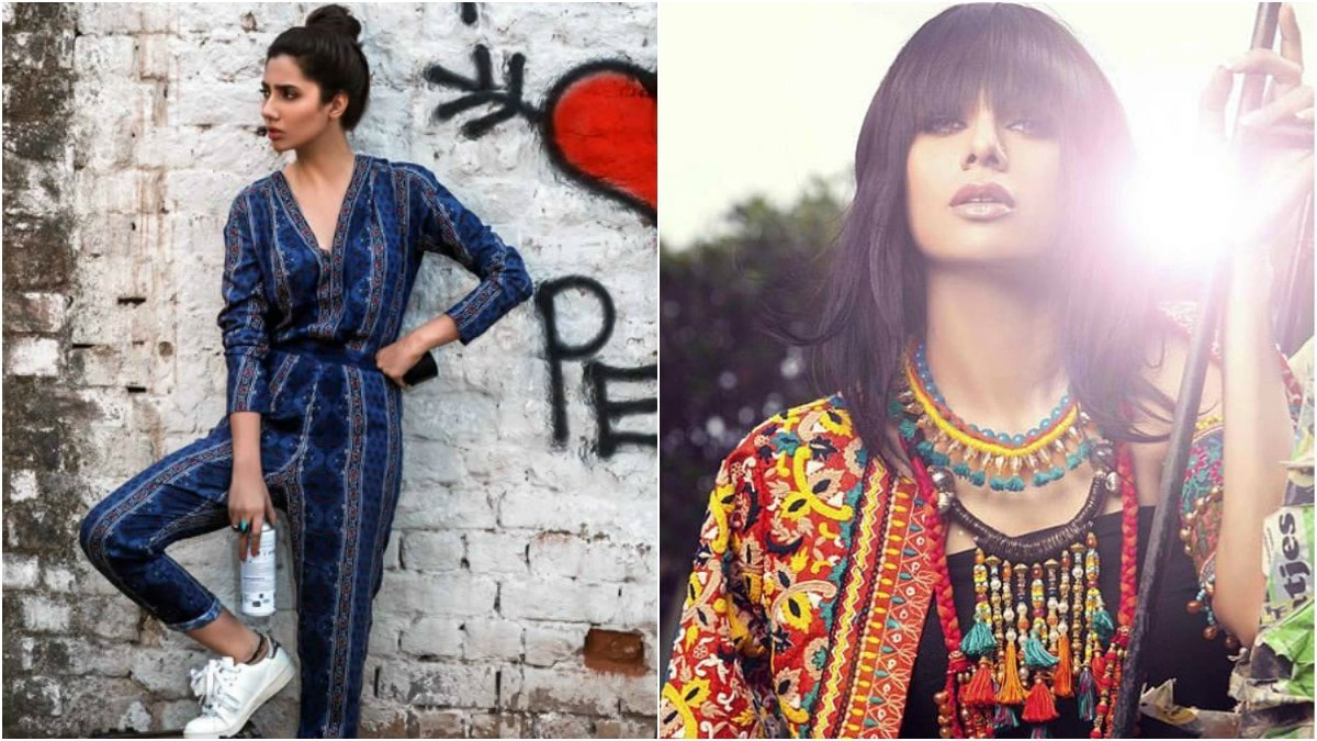Haiya styled Mahira Khan for this Pepe Jeans campaign (L) whereas it's Khoji's work you see on the right for a FnkAsia shoot.