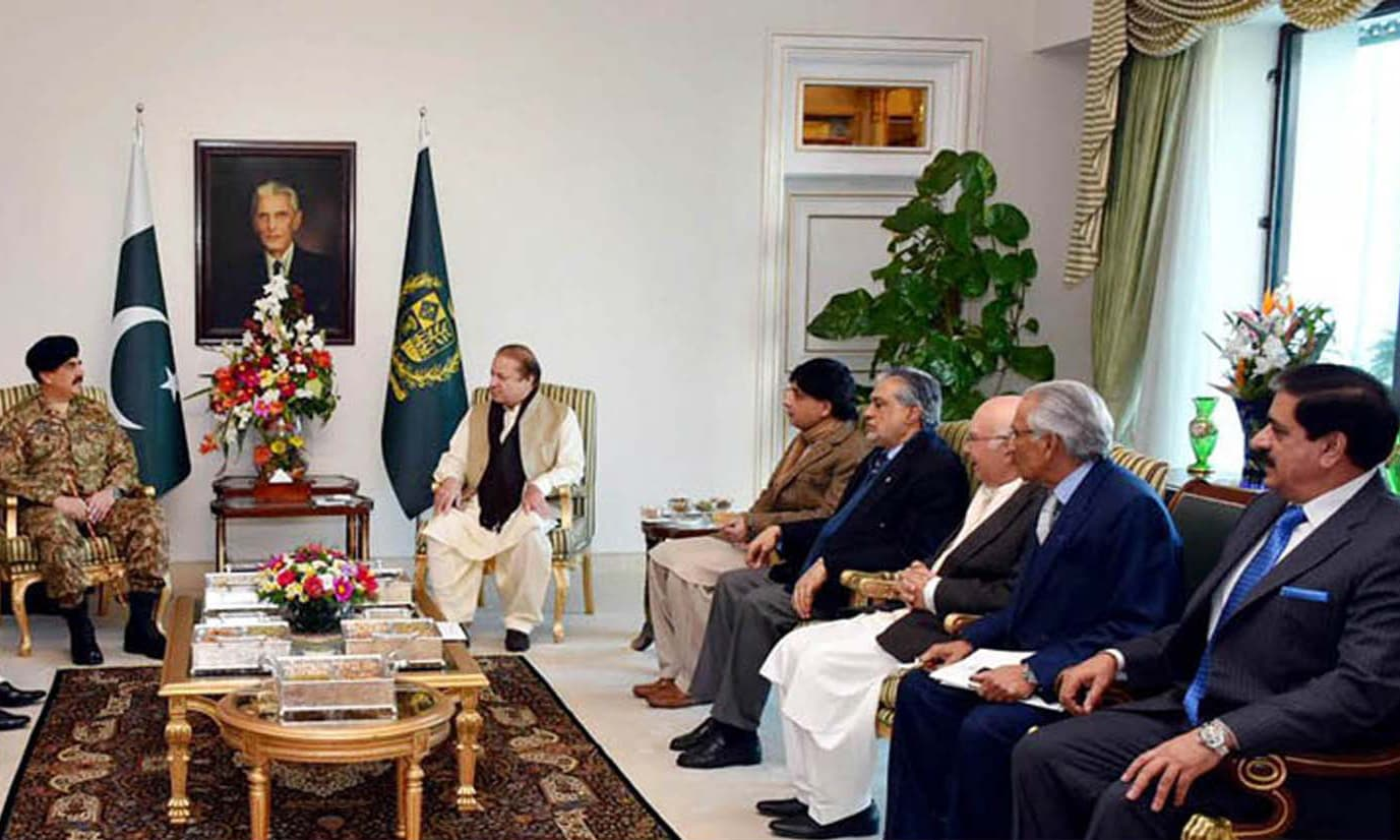 Prime Minister Nawaz Sharif exchanges views with General Raheel Sharif at PM House. —PPI