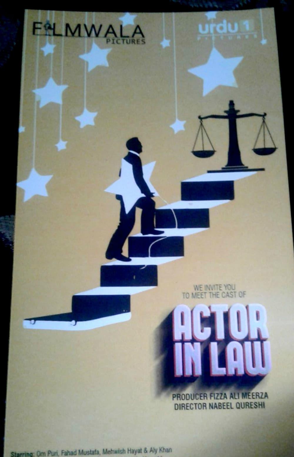 Bollywood veteran Om Puri joins a cast of popular actors Fahad Mustafa, Mehwish Hayat and Alyy Khan in Actor In Law