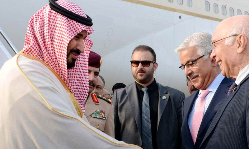 Saudi defence minister was received by Prime Minister's Adviser on Foreign Affairs Sartaj Aziz and Defence Minster Khawaja Asif.─ Photo: PID