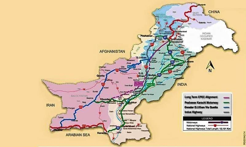 A map showing the route of the CPEC. —Planning Commission of Pakistan
