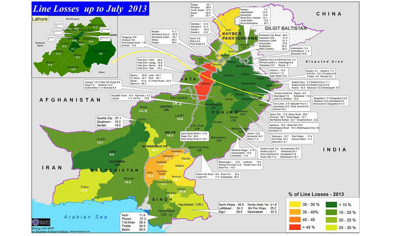 پاکستان بھر میں ٹرانسمیشن خسارے کی وجہ سے تقریباً %20 بجلی ضائع ہوجاتی ہے۔ نقشہ بشکریہ ایس ڈی پی آئی.