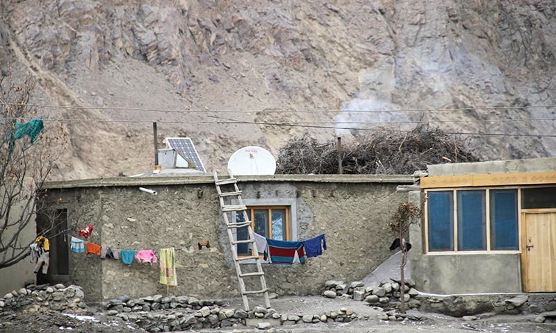 There are 200 houses in Shimshal and every house uses solar panels to generate electricity.