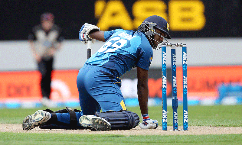 Angelo Mathews of Sri Lanka reacts during the second T20 against New Zealand. — AFP