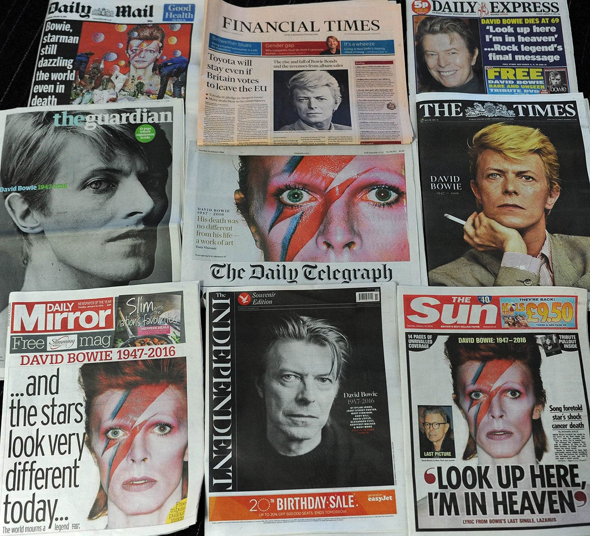 An arrangement of British newspapers photographed in London on January 12, 2016 shows the front pages dominated by the news of the death of David Bowie.─AFP