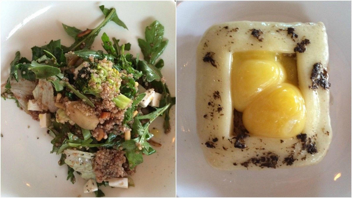 The Quinoa salad (L) was one of the best I've had in the city because of which the Truffled Egg and Gruyere tartine got neglected and was eaten cold.