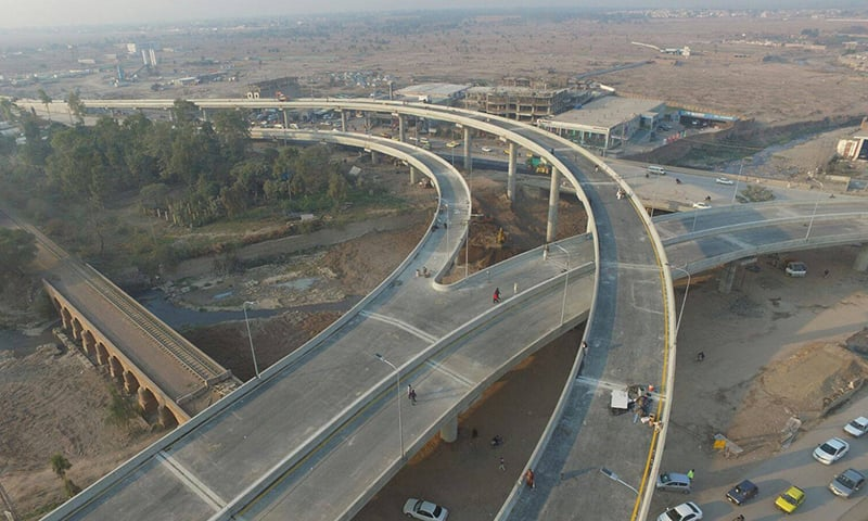 Bab-i-Peshawar flyover is the country's second multi-level flyover. —Photo courtesy PTI